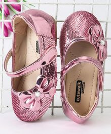 Cute Walk by Babyhug Party Wear Bellies Sequin & Bow Detail - Pink