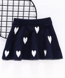 Kookie Kids Pleated Skirt Heart Print - Navy Blue