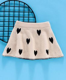 Kookie Kids Pleated Skirt Heart Print - Beige