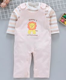ToffyHouse Dungaree Style Romper With Stripe Tee Lion Embroidery - Light Peach White