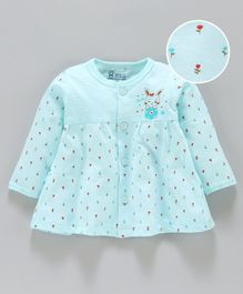 Pink Rabbit Full Sleeves Night Gown Rose Print - Light Blue