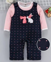 ToffyHouse Dungaree Style Romper With Full Sleeves Striped Tee Heart Print - Navy Pink