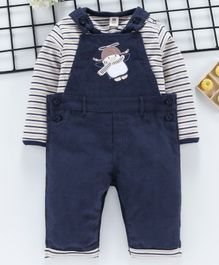ToffyHouse Dungaree With Full Sleeves Striped Inner Tee Penguin Patch - Navy Blue