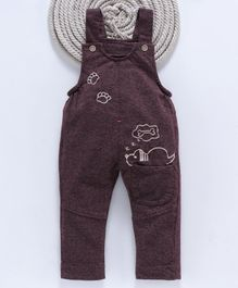 Kookie Kids Full Length Dungaree Puppy Print - Purple