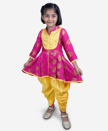 KID1 Printed Full Sleeves Peplum Kurti With Dhoti - Fuchsia & Golden