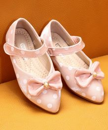 Cute Walk by Babyhug Party Wear Belly Shoes Bow Applique - Light Pink