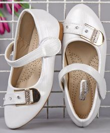 Cute Walk by Babyhug Party Wear Belly Shoes with Studded Buckle - White