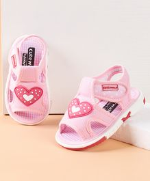 Cute Walk by Babyhug Sandals Heart Patch - Pink