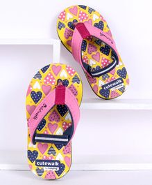 Cute Walk by Babyhug Flip Flops with Back Strap Heart Print - Yellow