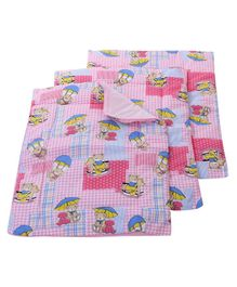 Babyhug Multi Purpose Baby Mat Teddy Bear Print Set Of 4 - Pink