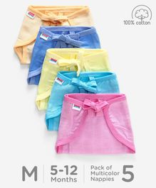 Babyhug U Shape Reusable Muslin Nappy Set Lace Medium Pack Of 5 - Multicolor