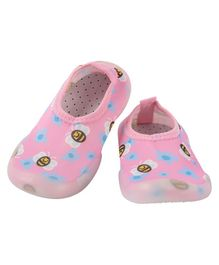 Yellow Bee Flower & Bee Comfy Sock Shoes - Pink