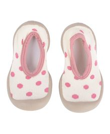 Yellow Bee Polka Dot Design Anti Skid Sock Shoes - Pink & White
