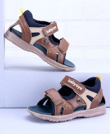 Babyoye Sandals With Dual Velcro Closure - Brown