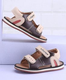 Babyoye Sandals With Dual Velcro Closure - Cream Brown
