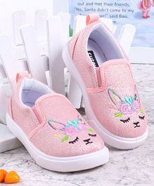 Cute Walk by Babyhug Bunny Embroidered Casual Shoes - Pink