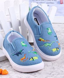 Cute Walk by Babyhug Dino Embroidered Casual Shoes - Blue