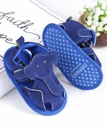 Cute Walk by Babyhug Booties Elephant Applique - Blue