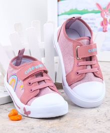 Cute Walk By Babyhug Canvas Casual Shoes Rainbow Embroidery - Dark Pink