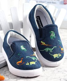 Cute Walk by Babyhug Dino Embroidered Casual Shoes - Navy Blue