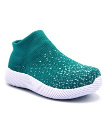 Jazzy Juniors Thread Work Detailing Shoes - Green