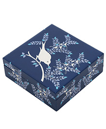 The Crazy Me Blue Bird Wooden Jewellery Box - Blue