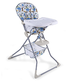 Baby High Chair With Storage Basket - Grey And Blue