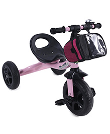 Baby Tricycle With Front Zippered Storage Bag - Pink And Black