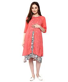 Mine4Nine Half Sleeves Maternity Dress - Peach