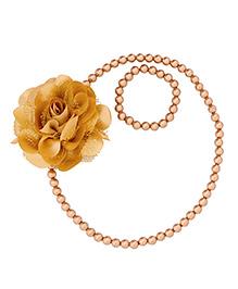 Miss Diva Elegant Flower With Beads Necklace & Bracelet Set - Golden
