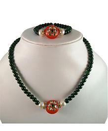 Tiny Closet Kundan Bead Necklace & Bracelet Set - Orange & Green