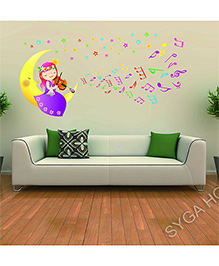 Syga Cute Angel With Voilin And Moon Decal Design Wall Stickers - Multicolour