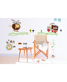 Syga Lion Truck Helicopter Wall Sticker - Multicolor