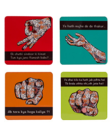 The Crazy Me Bollywood Hand Pattern Coasters Set - Multicolour