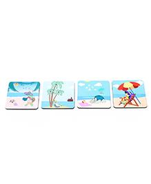 The Crazy Me Beach Fun Coasters Set - Blue