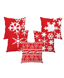 Stybuzz Cushion Cover Snowflakes Print Pack Of 5 - Red