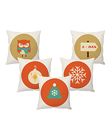 StyBuzz Christmas Cushion Covers Pack Of 5 - Multicolor