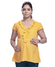 Kriti Short Sleeves Maternity Nursing Tunic Top - Yellow