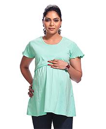 Kriti Short Sleeves Maternity Top - Sea Green