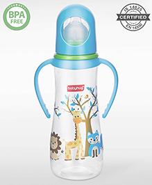 Babyhug Feeding Bottle With Handles - Blue White