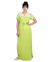 9teenAGAIN Half Sleeves Lounge Wear Lace Yoke Nursing Maxi Dress - Green