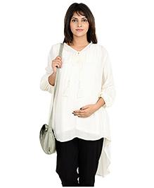 9teenAGAIN  High-low Casual Maternity Tunic  White XL Rayon