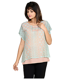 9teen Again Half Sleeves Maternity Top With Lace Details - Green