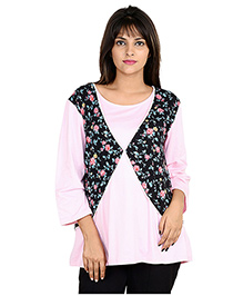 9teen Again Full Sleeves Maternity Top Floral Print - Pink