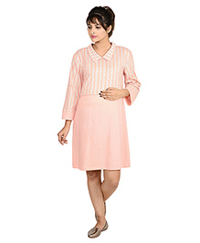 9teenAGAIN Solid And Printed Nursing Top - Peach