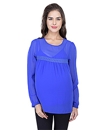 Oxolloxo Full Sleeves Maternity Top Solid Color - Blue