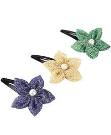 Knotty Ribbons Set Of Three Handmade Flower Hair Clips - Golden Blue & Green