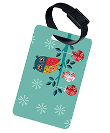 The Crazy Me Owl Printed Luggage Tag - Light Blue