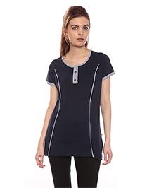 Goldstroms Long Maternity Top With Vertical Zipper - Navy
