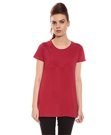 Goldstroms Short Sleeves Long Maternity Top With Horizontal Zipper - Red
